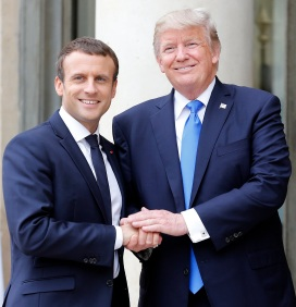French President Emmanuel Macron Receives   U.S. President Donald Trump At Elysee Palace