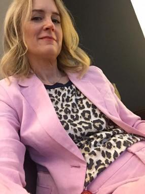Deb pink suit